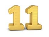 Chiffre 11 en doré